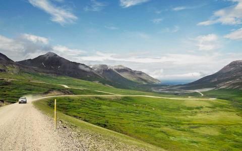 Bilväg på vackra Island
