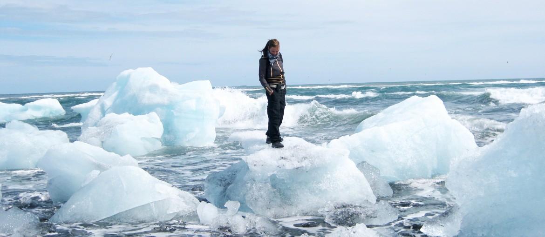 Glaciärlagunen Jökulsarlón på södra Island.