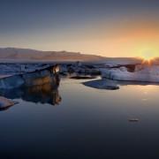 Glaciärlagunen Jökulsárlón på södra Island.