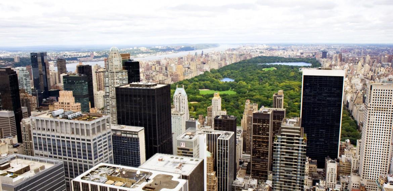 Vy över Central Park i New York, USA