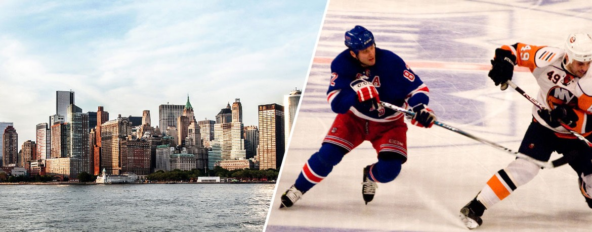 New York Rangers och New York skyline