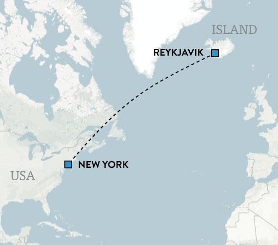 Kombinationsresa till Island och New York, karta
