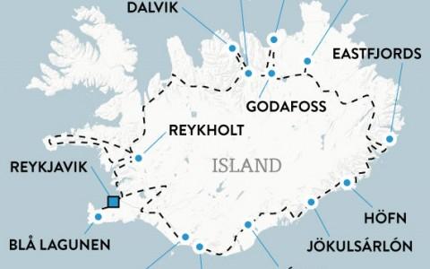 Hyrbilsresa Island 11 dagar, karta