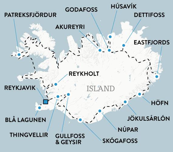 Island med hyrbil 15 dagar, karta
