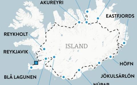 Hyrbilsresa på Island i 8 dagar, karta