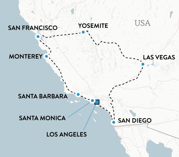 Mitt Kalifornien med hyrbil - karta över resans rutt