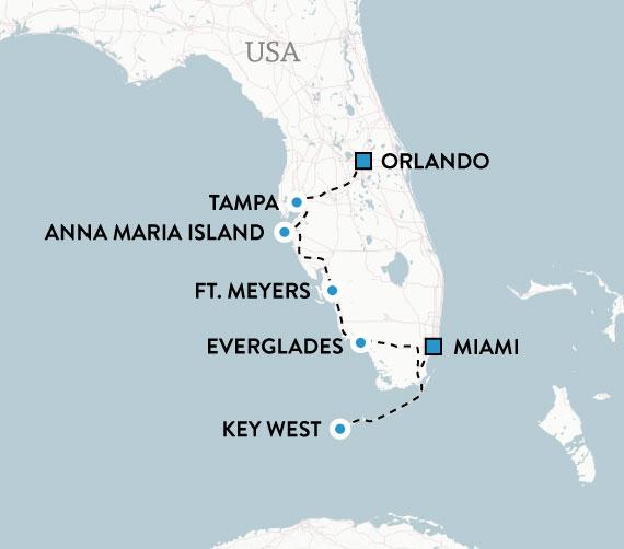 Karta Floridas höjdpunkter med hyrbil