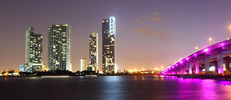 Miami by night, Florida, USA