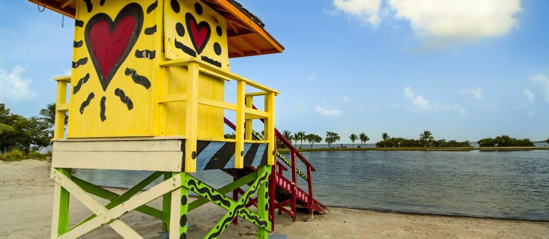 Badvaktstorn vid Homestead Bayfront Park i Miami, Florida, USA