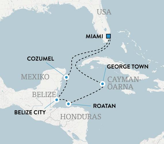 Kryssning med Carnival Glory i västra Karibien, karta