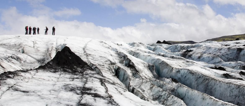 Glaciärvandring på Solheimajökull på Island, sommar