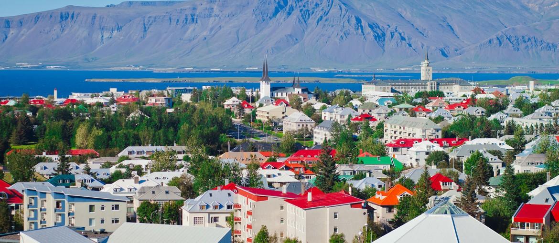 Vy över Reykjavik, Island