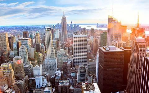 Solnedgång över New York, USA