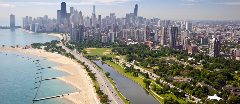 Chicagos stränder och skyline sett från ovan