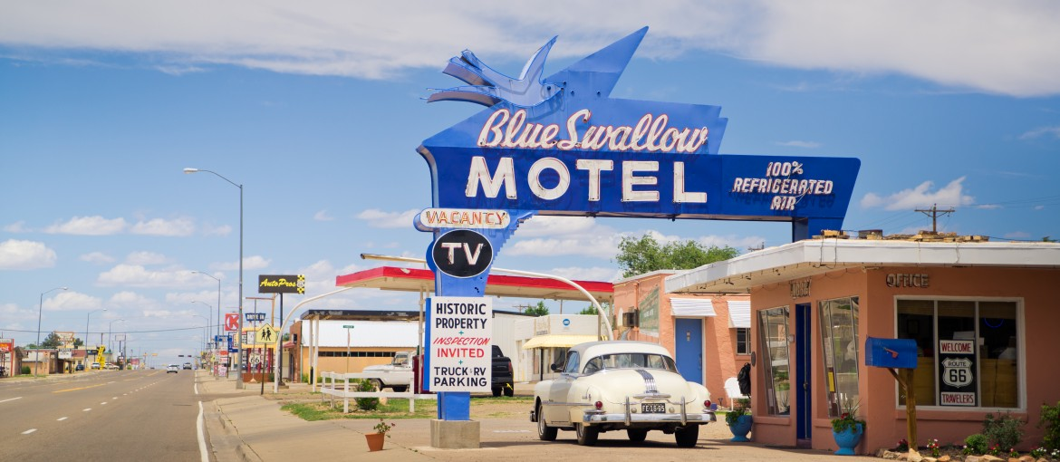 Blue Swallow Motel längs Route 66 i USA