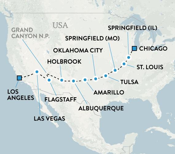 Karta Usa Chicago.Kor Langs Legendariska Route 66 Med Bil Eller Mc Escape Travel