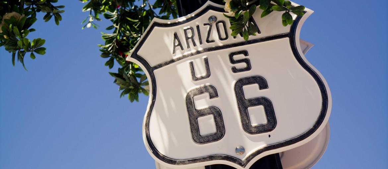 Route 66 skylt i Arizona, USA