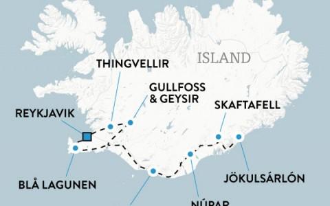 Island med hyrbil - sydkusten och norrsken, karta