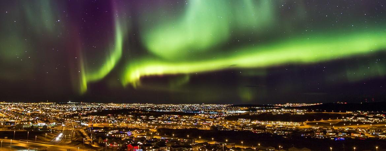 Vackert norrsken över Reykjavik på Island