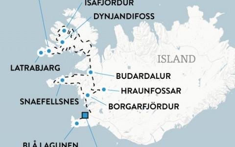 De vilda Västfjordarna på Island med hyrbil, karta