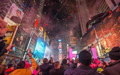 Nyår vid Times Square i New York, USA