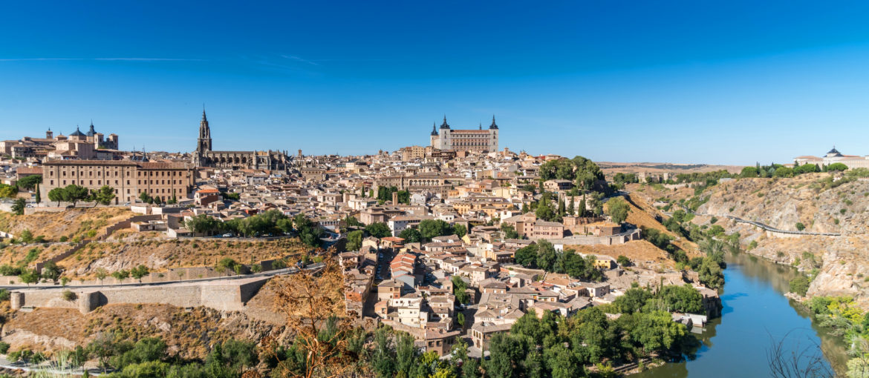 Vy över Toledo utanför Madrid, Spanien