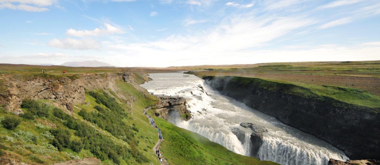Vattenfallet Gullfoss, en del av Gyllene Cirkeln på Island